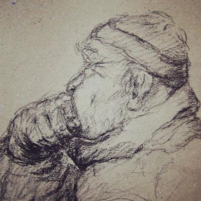 Skizze von einem alten Mann
